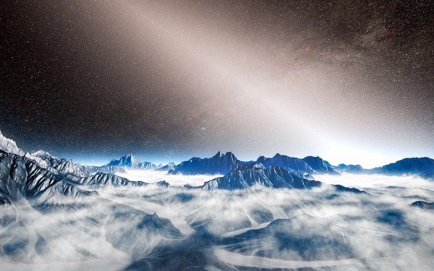 Impressão artística de luz exozodiacal brilhante. Crédito: ESO/L. Calçada