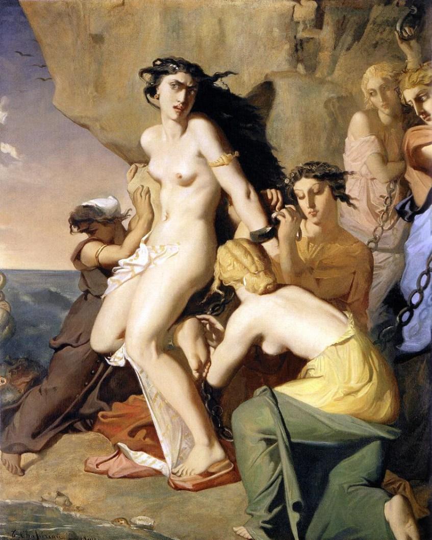 Andrómeda é acorrentada a um promontório pelas nereidas. Théodore Chassériau, 1840.