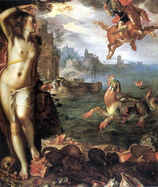 Andrómeda acorrentada à mercê de Cetus, o monstro marinho enviado por Poseidon. Perseu aproxima-se, montado em Pégaso, em seu socorro. Joachim Wtewael, 1611.