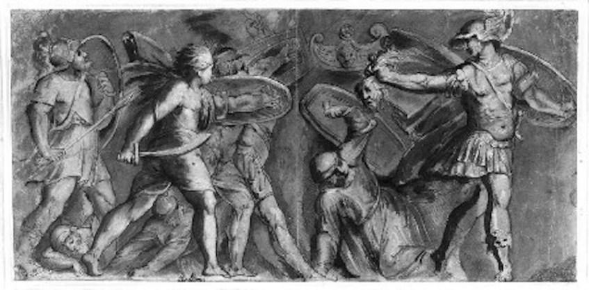 De retorno a Sérifos, Perseu petrifica Polidecto e os seus consortes. Estudo de Caravaggio.