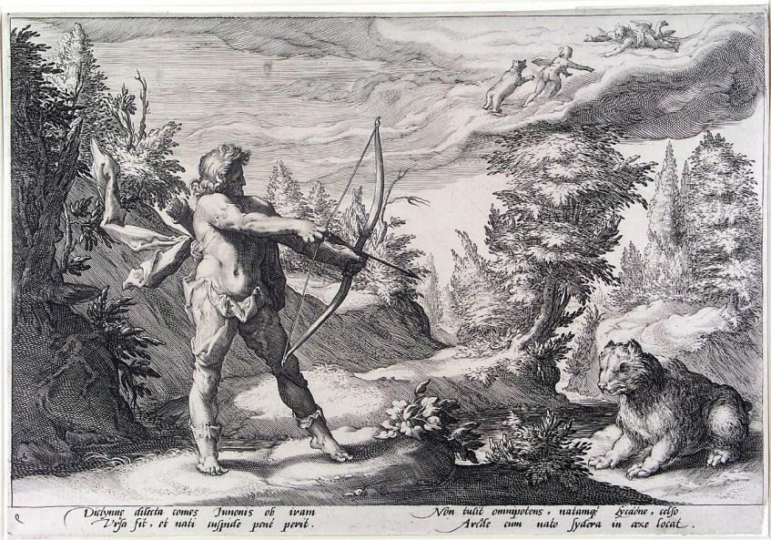 Arcas prepara-se para matar uma ursa, desconhecendo que é sua mãe, Calisto. Ao longe, nas nuvens vemos os dois ascendendo ao firmamento, esperados por Zeus. Hendrik Goltzius, 1558–1617.