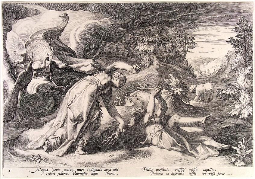 Hera enraivecida agarra Calisto pelos cabelos e transforma-a numa ursa. Os pavões são aves sagradas associadas a Hera. Hendrik Goltzius, 1558–1617.