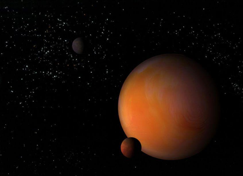 Um planeta feito a partir de água, creme de leite, leite de coco, corante alimentar, sal, canela e fermento.