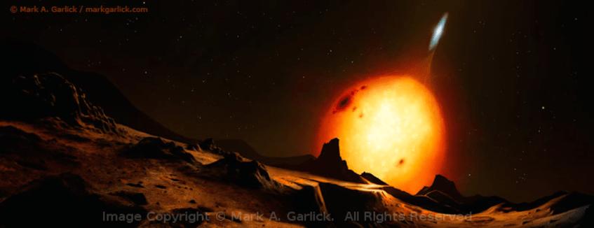 Representação artística de um sistema que poderia bem ser o V404 Cygni observado a partir de um hipotético planeta circumbinário. Crédito: Mark A. Garlick.