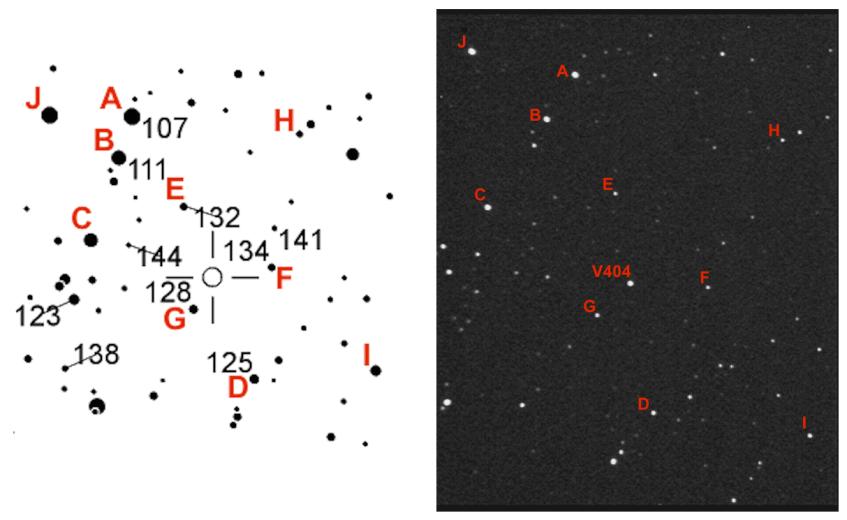 O campo de visão do sistema V404 Cygni observado com o telescópio do Observatório Astronómico do Parque Biológico de Gaia. Equipamento: câmara WATEC 120N, Celestron 9.25 SCT, redutor de focal 0.5x, integração de 9 segundos. Crédito: AAVSO e OAPBG.