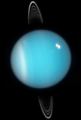Urano, visto pelo Telescópio Espacial Hubble, em 2005. Crédito: NASA, ESA, e M. Showalter (SETI Institute)