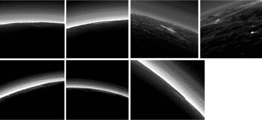 Plutão tem alguma neblina. No entanto, os astrónomos encontraram algumas candidatas a pequenas nuvens isoladas. Créditos: NASA / JHUAPL / SwRI