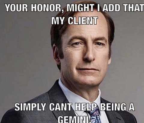 your honor cant help being gemini meme