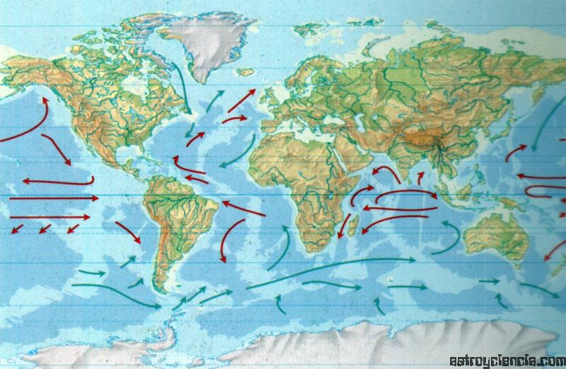 Mapa de las corrientes marinas