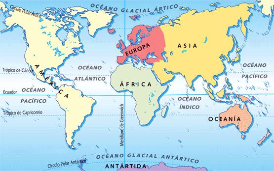 Mapa de los continentes de la Tierra