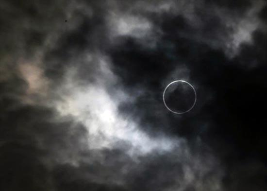 Imagen captada desde tokio del eclipse del 20 de mayo