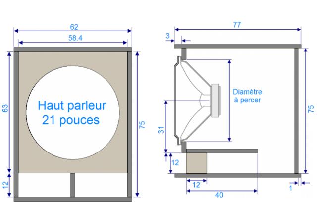 plan de caisson de basse haut parleur