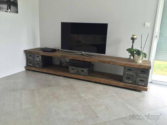 meubles tv industriel noir