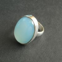 Buy Aqua blue chalcedony ring, Oval stone sterling silver ...