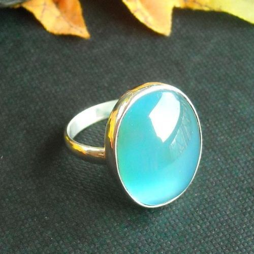 Buy Aqua Blue Chalcedony Ring Oval Gemstone Handmade