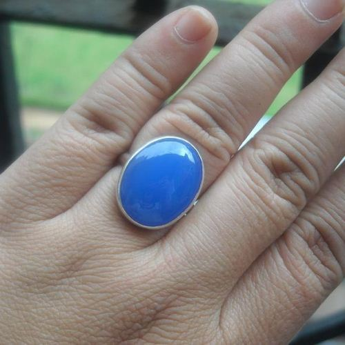 Buy Artisan ring Handmade ring jewelry silver blue