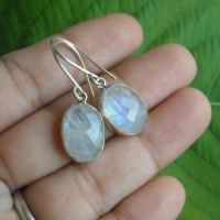 Buy Rainbow moonstone earrings - Sterling silver dangle ...