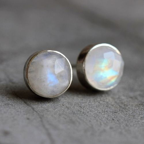 Buy Rainbow moonstone earrings, 8mm round moonstone silver