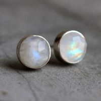 Buy Rainbow moonstone earrings, 8mm round moonstone silver