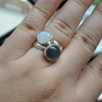 Buy Rainbow moonstone ring, Sterling silver moonstone ...