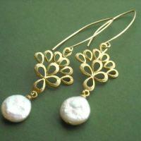 Buy Wedding day bridal pearl gold pearl earrings Online at ...