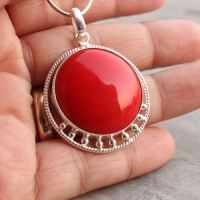 Buy Handmade red coral sterling silver pendant jewelry ...