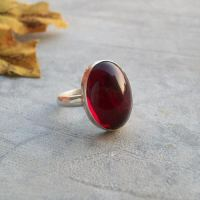 Buy Cabochon Garnet Ring, Red jewel ring, Silver garnet ...
