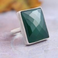 Buy Emerald green ring, Rectangle gemstone green onyx ...