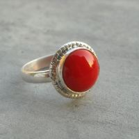 Buy Red Coral Ring, Ethnic ring, Silver artisan jewelry ...
