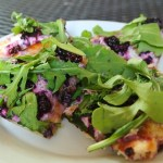 Blackberry, Goat Cheese, Honey, and Arugula on Homemade Naan