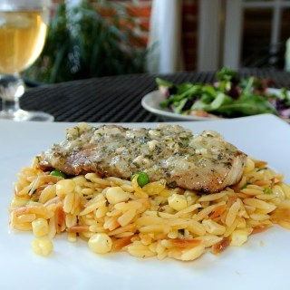 Drum Fish with Peas and Corn Orzo