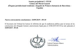 21.5.19 - IRPH - Retraso conclusiones Abogado General - ASUNTO C-125-18