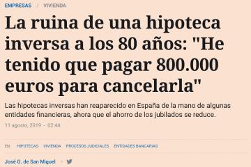 HIPOTECA INVERSA. EL ESPAÑOL. ASUFIN. 11.08.2019.