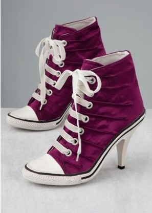 Pretty Womens Converse High Heels Violet Sneakers