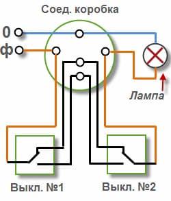 Geçiş şalteri için bağlantı şeması