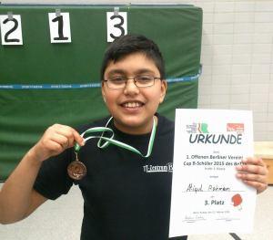 3. Platz für Atiqul in der 2. Klasse der B-Schüler