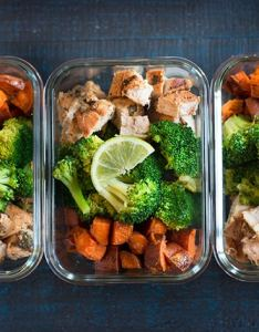 Three prepared meals in  line to show how arrange the meal prepped chicken for also prep under  sweet pea chef rh asweetpeachef