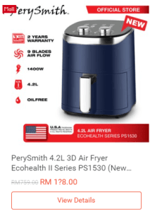 PerySmith-Air-Fryer-Ecohealth-Shopee-PayDay-25-July-2021