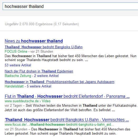 Google News in der regulären Trefferliste