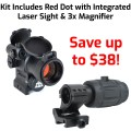 LEOS Red Dot Sight with Laser plus RRDM 3x Magnfier Combo