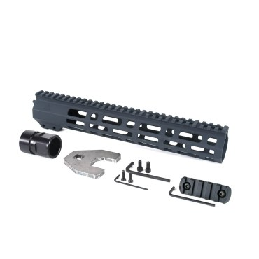 AT3 Tactical Spear M-LOK Free Float Handguard Stealth Grey 12 Inch with Barrel Nut, 5 Slot Rail, and Hardware