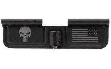 """Spike's Ejection Port Door Part Black """"Punisher & Flag"""" Engraving SED7005"""