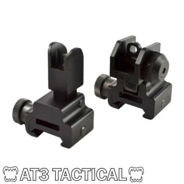 BLEMISHED - AT3 Tactical Flip Up Backup Iron Sights (BUIS) - Front & Rear Set - Same Plane or Gas Block Height