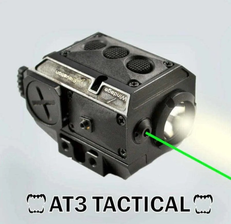 BLEMISHED RETURN AT3 Tactical Green Laser Light Combo with LED Strobe Flashlight LL-02G