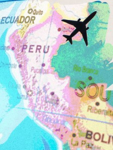 [map of peru and airplane]
