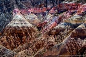 Colorful rock layers, cliffs of Quebrada Allanes in the Putre area, Chilean Altiplano