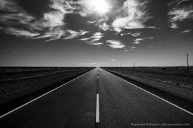 On the flat straight Ruta 40 travelling in the endless steppe of Patagonia in Argentina