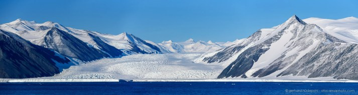 Panorama of Dugdale glacier with Admiralty Mountains in the background. Robertson Bay Antarctica.