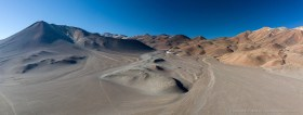 Aerial panorama of volcanic landscape in the Chilean Altiplano, with Cerro Plomizo