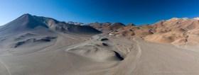 Aerial panorama of volcanic landscape in the Chilean Altiplano, with Cerro Plomizo